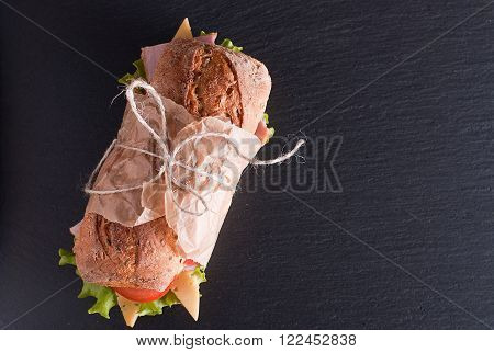 baguette sandwich on the table top view