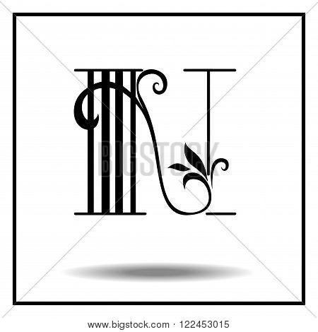 N. Letter N with leaves. Vector illustration