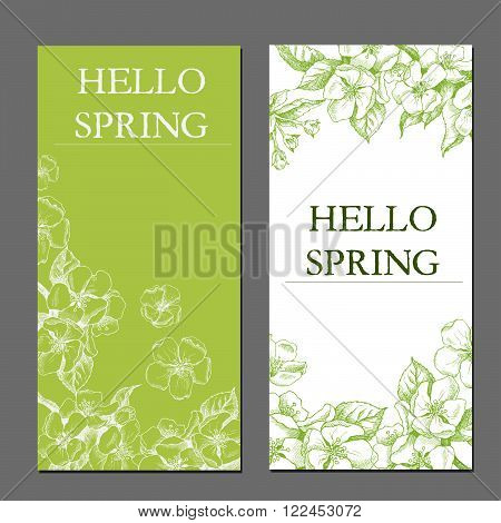 Hello spring. Vector template label/background with hand-draw spring flowers. Spring background. Spring design,spring vector,hello spring,