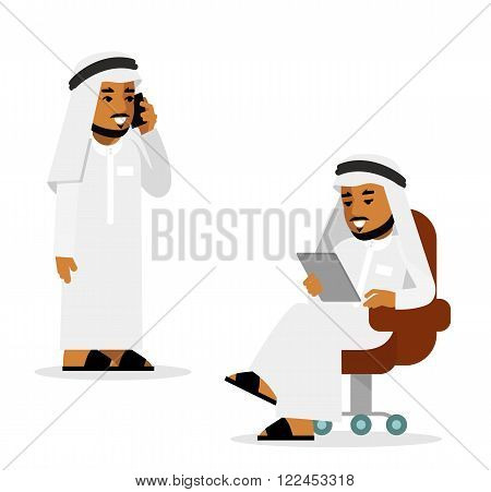 Young saudi arabic man sitting with tablet computer, standing and using mobile phone