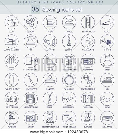 Vector Sewing outline icon set. Elegant thin line style design