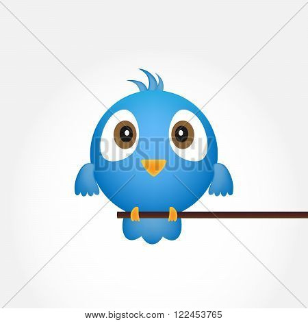 Blue bird sitting on a branch. Abstract blue bird over white background - vector illustration.