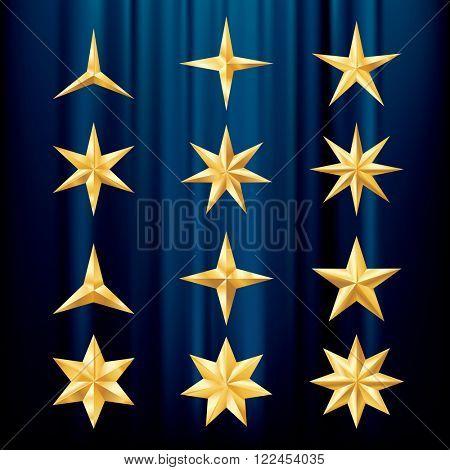 twelve different vector golden stars on blue velvet background, layered and editable