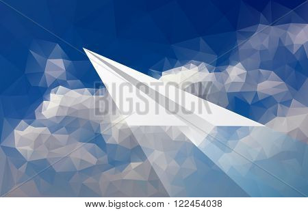 vector abstract background with paper plane over low poly cloudy sky