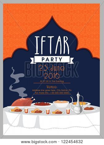 Creative Invitation Card design with illustration of delicious dishes for Iftar Party celebration.