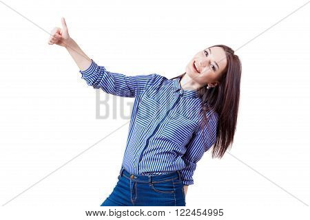 happy girl shows sign of good class