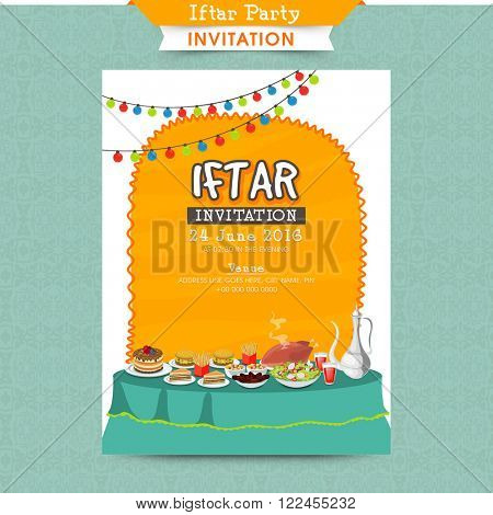 Creative Invitation Card design with illustration of delicious dishes and colourful lights decoration for Iftar Party celebration.