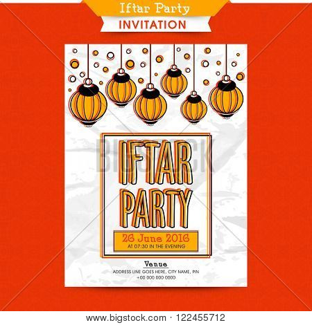 Creative Invitation Card design with hanging lamps for Ramadan Kareem, Iftar Party celebration.