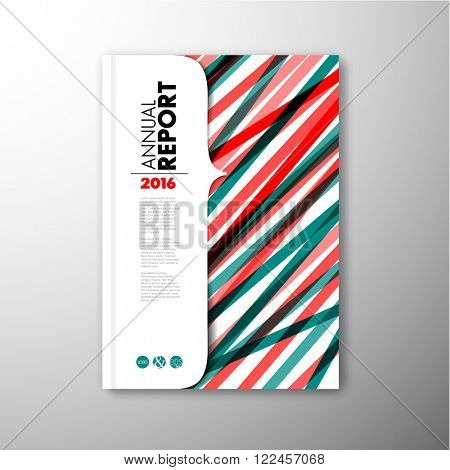 Modern Vector abstract brochure / book / flyer design template - teal and red version