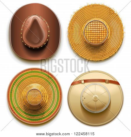 Vector Hats Set isolated on white background