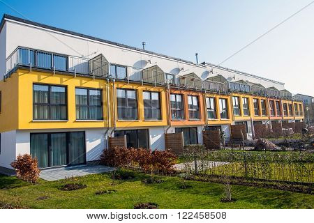 Modern terraced housing seen in Berlin, Germany
