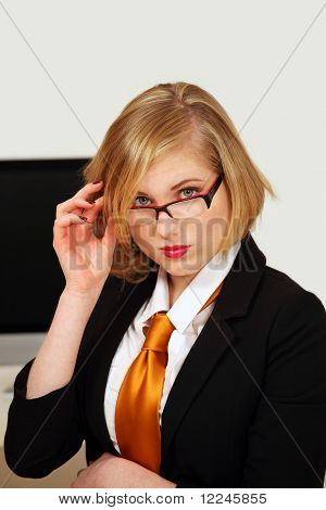 Office girl looking with interest