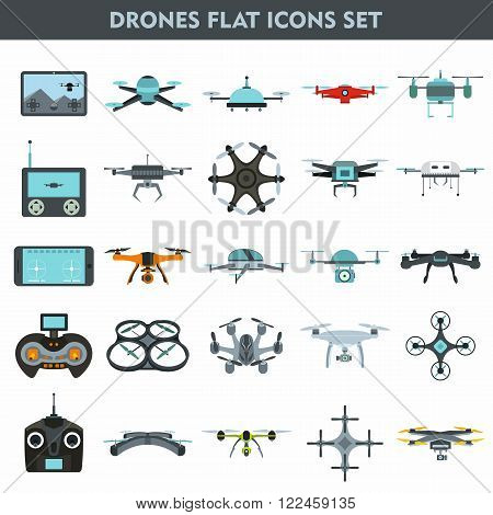 Quadcopters and drones surveillance and delivery devices 25 flat icons square composition banner abstract isolated vector illustration