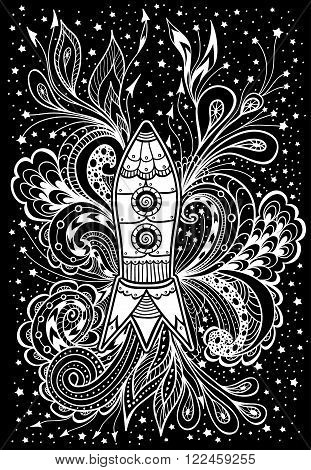 Zen-doodle or  Zen-tangle racket in space white on black for coloring page or relax coloring book or wallpaper or for decorate package clothes  or different things or for celebrate cosmonautics day