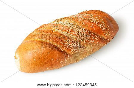 White long loaf with sesame seeds rotated isolated on white background