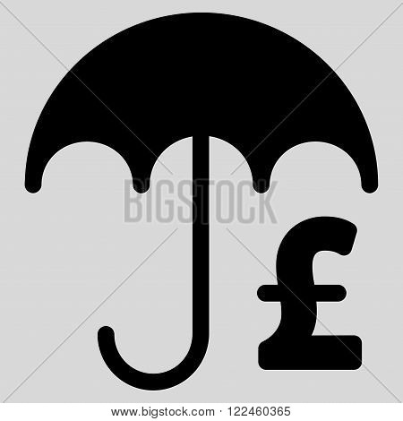 Pound Financial Umbrella vector icon. Pound Financial Umbrella icon symbol. Pound Financial Umbrella icon image. Pound Financial Umbrella icon picture. Pound Financial Umbrella pictogram.