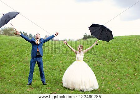 The Happy Newlyweds On A Walk