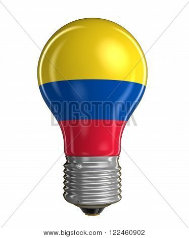 Light bulb with Colombian flag.  Image with clipping path