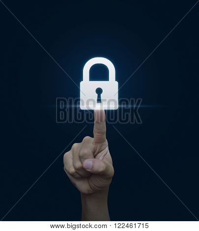Hand pressing security key button on virtual screen Technology information security and data encryption concept