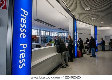 HANNOVER GERMANY - MARCH 14 2016: Press registration desk at CeBIT information technology trade show in Hannover Germany on March 14 2016.