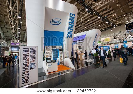 HANNOVER GERMANY - MARCH 14 2016: Booth of Intel Corporation at CeBIT information technology trade show in Hannover Germany on March 14 2016.
