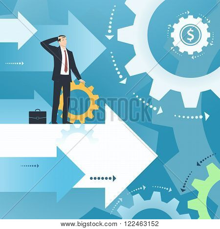 Businessman and working business. Illustration with gear wheels, cogwheels. Business concept of success, ambitions, searching, economic, growth, development, strategy, teamwork, development.