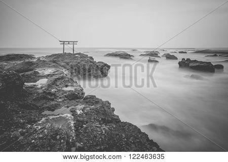 Japanese shrine gate and sea at Oarai city Ibaraki