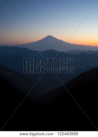 Beautiful sunrise time of Mountain Fuji in autumn season seen from Mountain Takayama Shizuoka prefecture