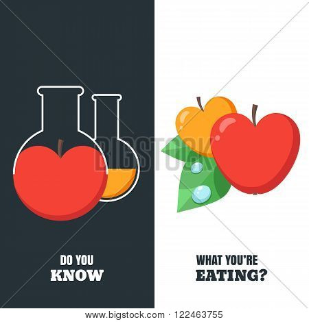 Vector Illustration Of Organic Apple And Chemically Modified Apple