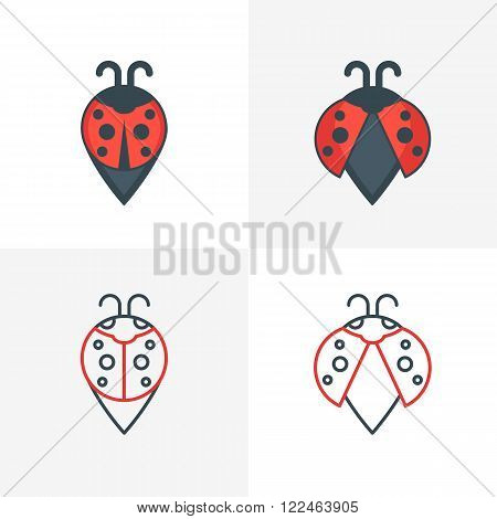 Abstract ladybug point symbols. Stylized map waypoint. Set of vector logo icon label design elements. Outline and flat style illustration.
