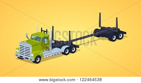 Empty log truck against the yellow background. 3D lowpoly isometric vector illustration