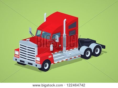 Red heavy american truck against the green background. 3D lowpoly isometric vector illustration