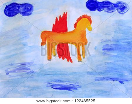 colored and funny childish drawing of fabulous Pegasus on the blue