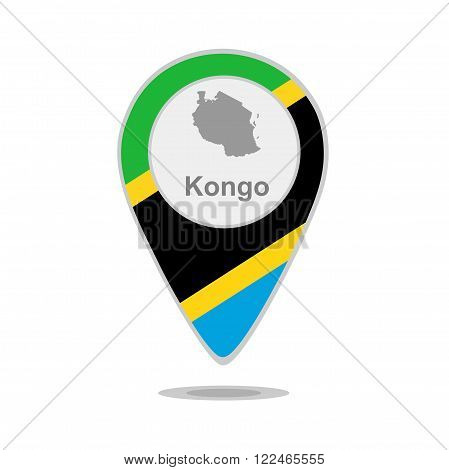 A pointer with map and flag of Kongo