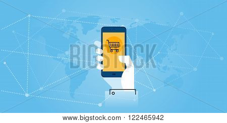 Flat line design website banner of mobile commerce. Modern vector illustration for web design, marketing and print material.
