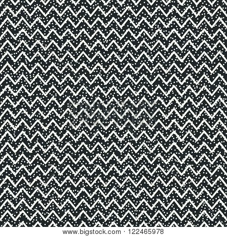 Geometric abstract chevron zigzag stripes pattern. Hipster striped. Wrapping paper. Scrapbook paper. Vector illustration. Background. Graphic texture with randomly disposed spots.
