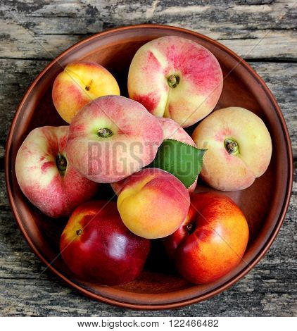 Juicy, ripe, delicious fruit peaches nectarines apricots top view
