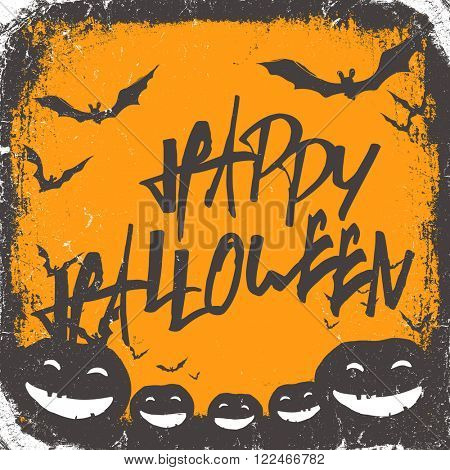 Halloween themed background with hand drawn lettering and bats silhouettes and scary pumpkins. Raster version.