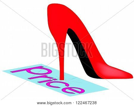Red shoes stepped on the inscription price