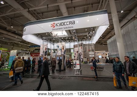 HANNOVER, GERMANY - MARCH 14, 2016: Booth of Kyocera company at CeBIT information technology trade show in Hannover, Germany on March 14, 2016.