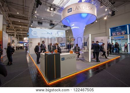 HANNOVER GERMANY - MARCH 14 2016: Booth of Landesk Software company at CeBIT information technology trade show in Hannover Germany on March 14 2016.