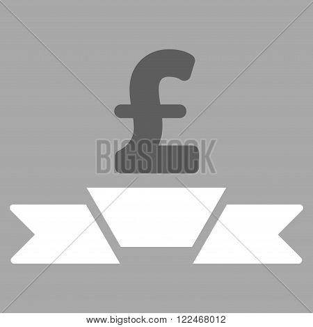 Pound Business Premium Ribbon vector icon. Pound Business Premium Ribbon icon symbol. Pound Business Premium Ribbon icon image. Pound Business Premium Ribbon icon picture.