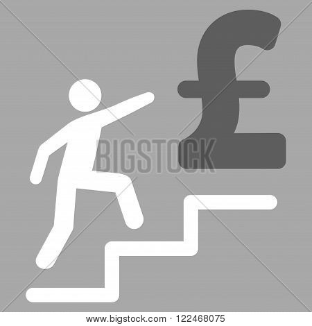 Pound Business Stairs vector icon. Pound Business Stairs icon symbol. Pound Business Stairs icon image. Pound Business Stairs icon picture. Pound Business Stairs pictogram.