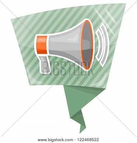 Vector bullhorn icon an a green background
