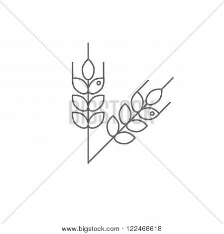 Icon spikelets isolated on white background. Vector.