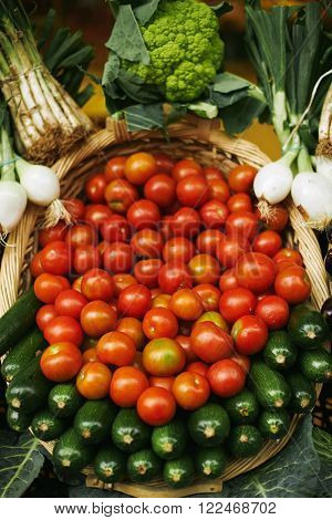 Tomatoes Zuccini Leek In Basket Presented In Market For Sale
