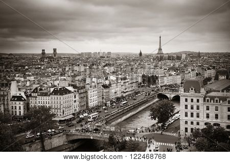 PARIS, FRANCE - MAY 13: Rooftop view with street and Eiffel tower on May 13, 2015 in Paris. With the population of 2M, Paris is the capital and most-populous city of France.