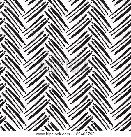 Herringbone Seamless Pattern. Monochrome. Raster version. Painted by Brush.
