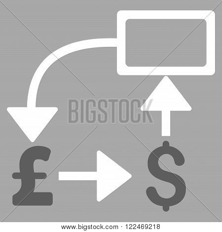 Pound Dollar Flow Chart vector icon. Pound Dollar Flow Chart icon symbol. Pound Dollar Flow Chart icon image. Pound Dollar Flow Chart icon picture. Pound Dollar Flow Chart pictogram.