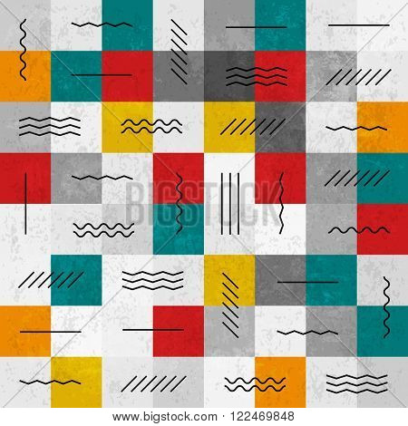 Retro colors abstract seamless pattern with geometric lines. Raster version